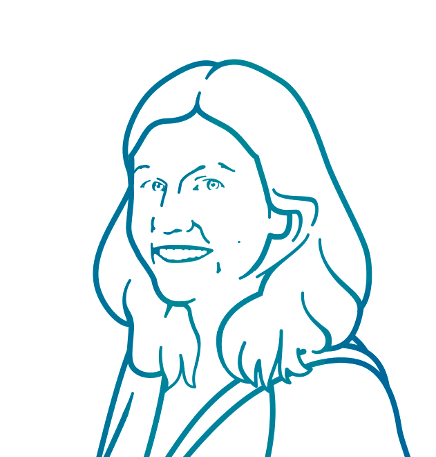 Line drawing portrait of Emma Back