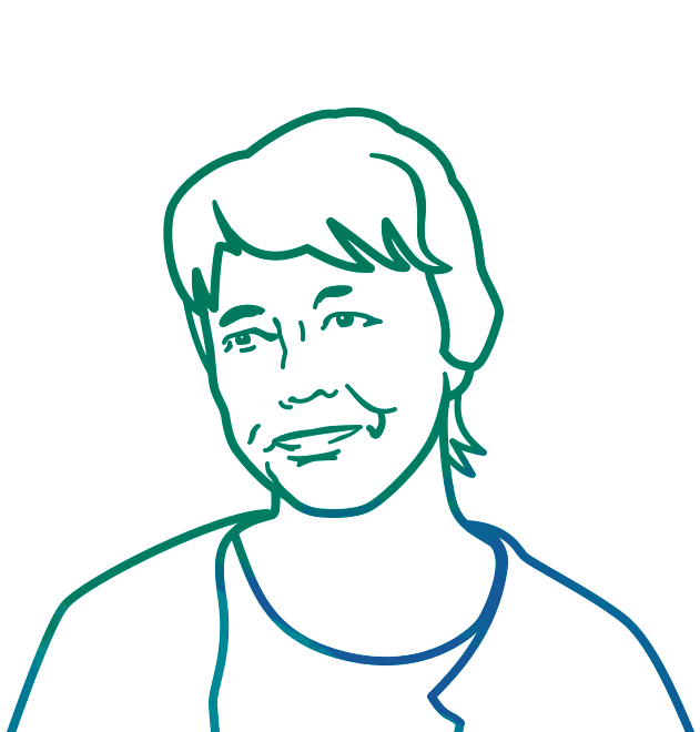 Line drawing portrait of Fran Watson