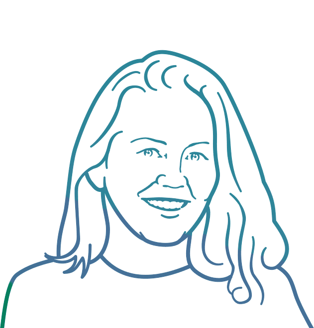 Line drawing portrait of Kate Hammon